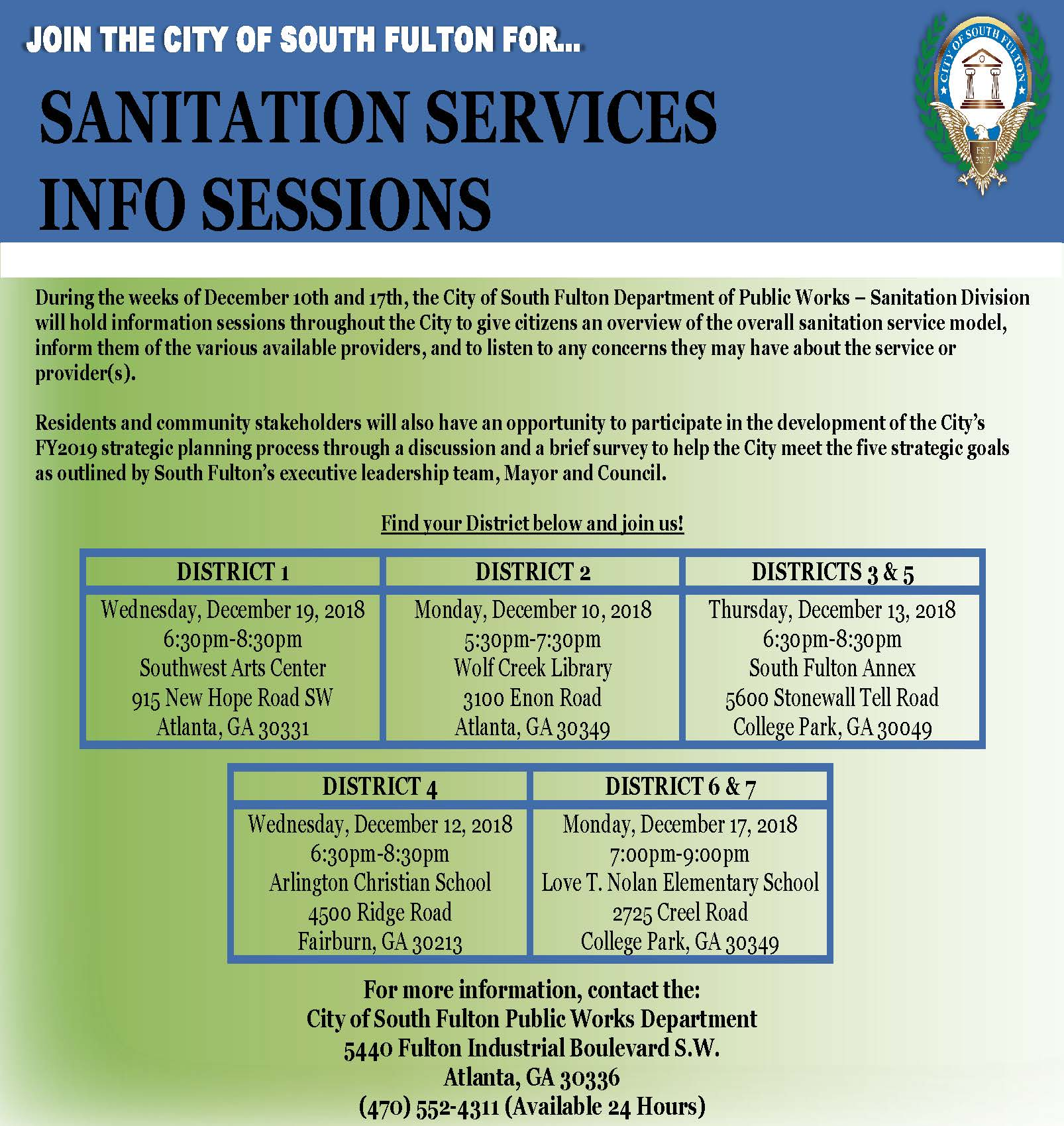Sanitation Services Info Sessions Flyer